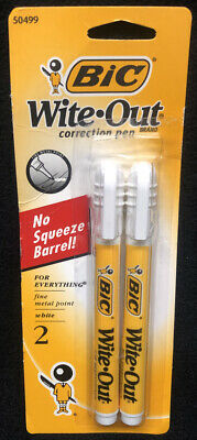 Bic White Out Correction Pen, No Squeeze Barrel (2 Pack) 50499