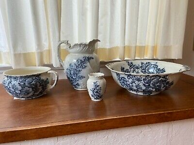 Antique 4pc Large Pitcher & Bowl set decorated with Dark Blue Flowers & Leaves