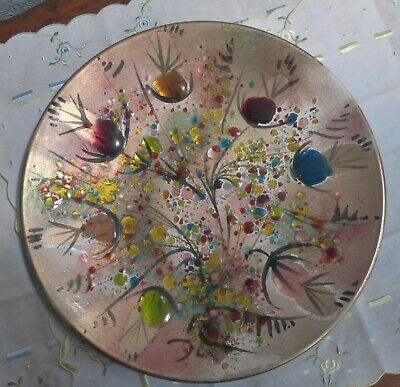 Mid Century Modern California Cloisonne Hand Decorated Enamel on Copper Dish 11""