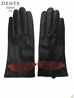DENTS Ladies Women's Leather Gloves Elegant Warm Winter with Detail 77-0022