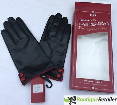 DENTS Ladies Kangaroo Leather GLOVES Button Cuff Silk Lining LL0043 Black Red