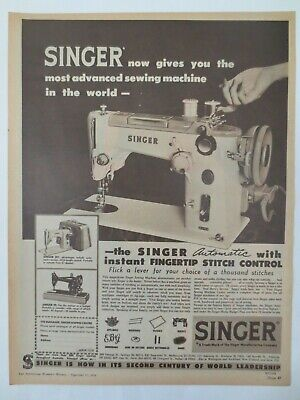 Vintage Australian advertising 1958 ad SINGER AUTOMATIC SEWING MACHINE