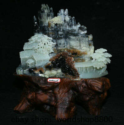 """15.2"""" China Natural Xiu Jade Jadeite Hand Carved Mountain House landscape Statue"""