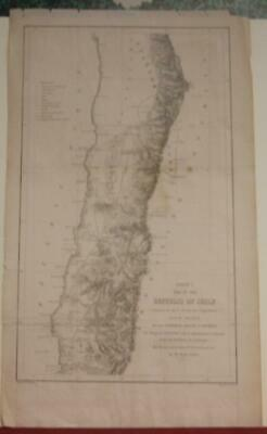 Chile South America 1855 Selmar Siebert Scarce Antique Original Lithographic Map
