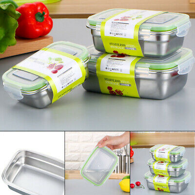 Stainless Steel Thermal Insulated Lunch Box Bento Box Picnic Food Container Lid