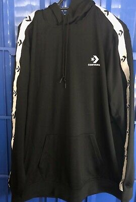 Converse Star Chevron Track Pullover Hoodie In Black 10007588-A01 Size XL
