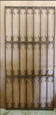 Antique Heavyweight Decorative Wrought Iron Panel, Window Guard Garden Folly (B)
