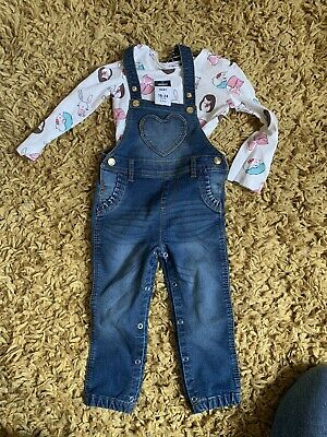 Girls Next Dungarees Outfit 18-24 Months