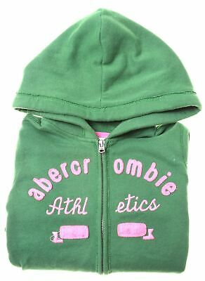 ABERCROMBIE & FITCH Girls Hoodie Sweater 8-9 Years Small Green Cotton  IQ02