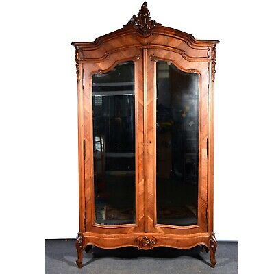 French Walnut Armoire, Double Mirrored Doors in Excellent Condition, circa 1870