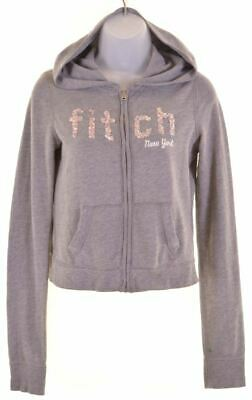 ABERCROMBIE & FITCH Girls Hoodie Sweater 15-16 Years XL Grey Viscose  GB14