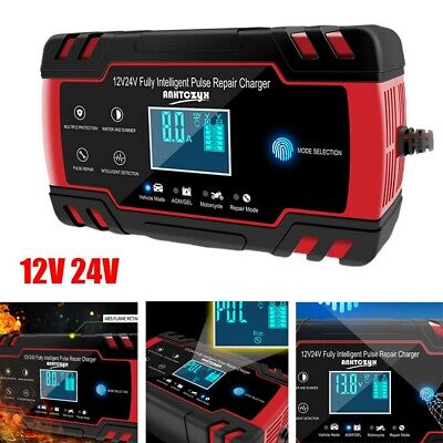 12V 24V Car Battery Charger Automatic Three Step Smart Lead Acid/GEL LCD Display