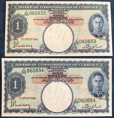 1941 Malaya 1 Dollar Pair of Gem Uncirculated Consecutive Notes - Free Ship USA