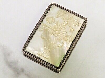 Antique Victorian Sterling Silver Snuff Box Case Nathaniel Mills Mother of Pearl
