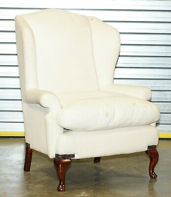 Rrp £1699 Large Wingback Armchair Ready For Re Upholstery Feather Filled Cushion