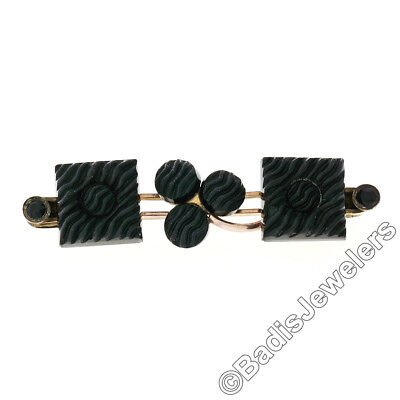 Antique Victorian Gold Filled Carved Textured Black Jet Safety Bar Pin Brooch