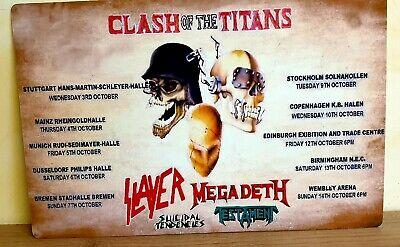 Clash Of The Titans Slayer Megadeth Testament Suicidal 1990 8X12 Inch Metal Sign