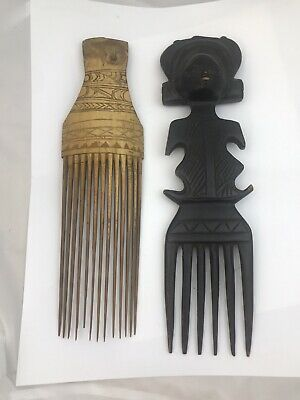 2 Antique Or Vintage  Hand Carved Wooden  African Tribal Hair Combs