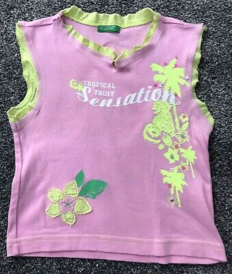 Girls United Colors of Benetton Pretty Pink Love T-Shirt Size 2XL Age 11-12