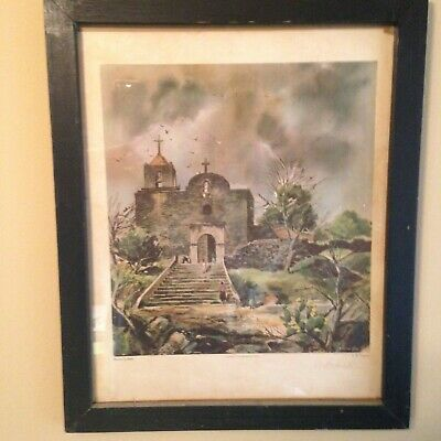 E.M. Schiwetz Presidio La Bahia Goliad, Texas Humble Way signed/primitive frame