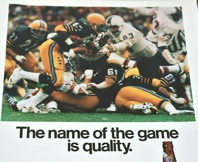 1976 Pabst Blue Ribbon Beer Football Milwaukee Wisconsin Brewer Vintage Print Ad
