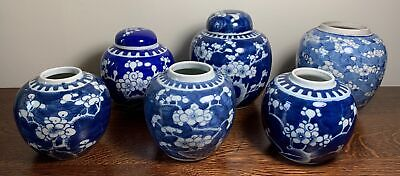 6 x Antique Chinese Kangxi Style Prunus Blue & White Porcelain Ginger Jars 14cm