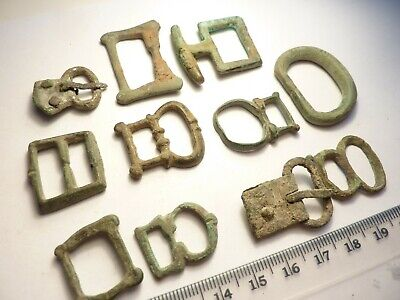 7325Lot of 11 bronze (one silver) buckles from military gear, ancient Roman