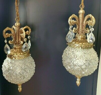 Vintage Ceiling Mount 2 Dual Double Brass Hanging Swag Light Lamp Clear Glass