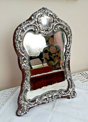 """FAB!! Large 12.5"""" Henry Matthews Silver Easel Dressing Table Mirror c1901"""
