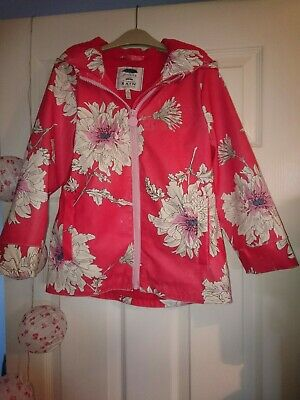 Girls Red Floral Fleece Lined Rain Coat From Joules Size 6Yrs