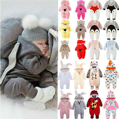 Cartoon Cute Newbron Baby Boy Girl Romper Hooded Pajamas Bodysuit Outfit Clothes