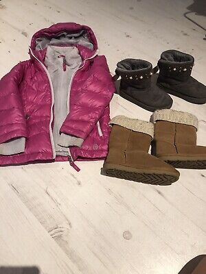 Girls Pink Puffa Jacket Age 5/6Yrs & Two Pairs Of Boots