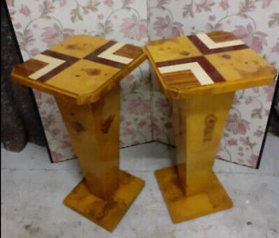 Pair Of Quality Inlaid Marquetry Occasional Tables, Pedestal, Pot Stands