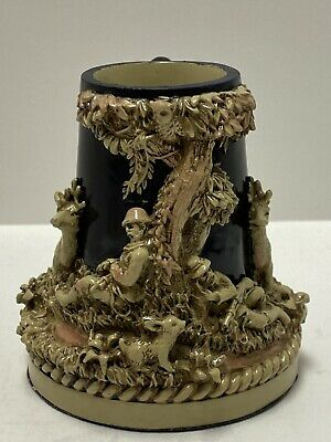 Antique Minature German Stein Glass W/No Lid By Nini - Hunting Scene