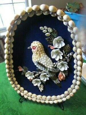 Vintage Handmade Boho Seashell Basket Artwork Bird With Flowers Wall Hanging