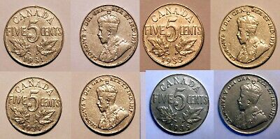 Canada 1931, 1933, 1934, & 1935 Five Cent Nickel Coins, Lot #f