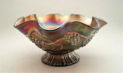 Antique Northwood Amethyst Carnival Glass Star of David & Bows Dome Ruffled Bowl