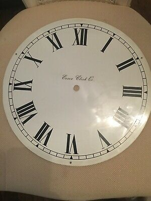 "Large Essex Clock Co  Dial 30cms 12"" Metal White Roman Numerals"