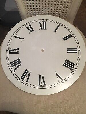 "Large Clock White Dial 355mm 14""Metal Black Roman Numerals"