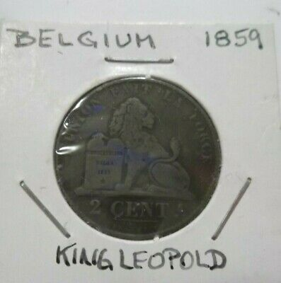 Coin Belgium King Leopold I, 2 Centimes 1859, Copper, see pics