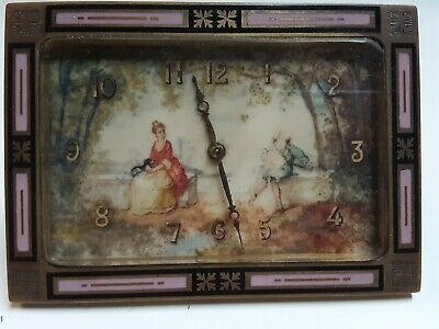 "Clock - Miniature Bronze & Enamel  3"" Tall,  Very Fine"