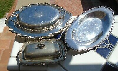Serving Dishes Covered Bread Tray Butter Dish Rogers Silverplate