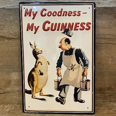My Goodness My Guiness Beer Metal Bar Sign w/ Kangaroo From The Dublin Museum