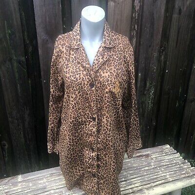 Ralph Lauren Night Shirt Pajama 100% Cotton Monogram Leopard Women's Size L
