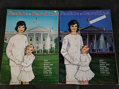 Lot of 2 Vintage Jackie & Caroline Kennedy 1960's Magic Wand Paper Dolls in box