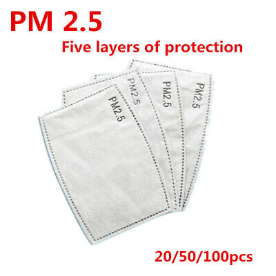 50 pcs PM2.5 5 Layer Filter Activated Carbon Filters Pads Replace Breath Insert