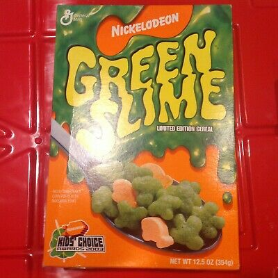 "Vintage Nickelodeon GREEN SLIME CEREAL ""UNOPENED FULL BOX"" LTD Edition 2003"