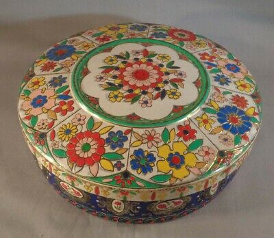 "Vintage Tin Container Floral Design Embossed 8"" Round w/ Lid Made In Holland"