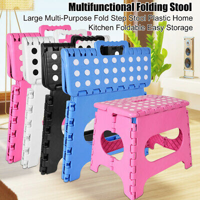 4 Colors Heavy Duty Plastic Step Stool Foldable Stool Multi-Purpose Home Kitchen