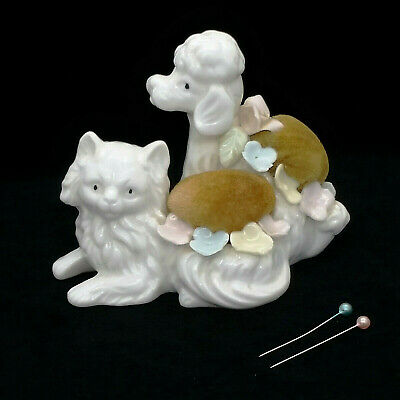 Vintage Ardalt Japan Verithin Porcelain China Pin Cushion Poodle Dog Cat